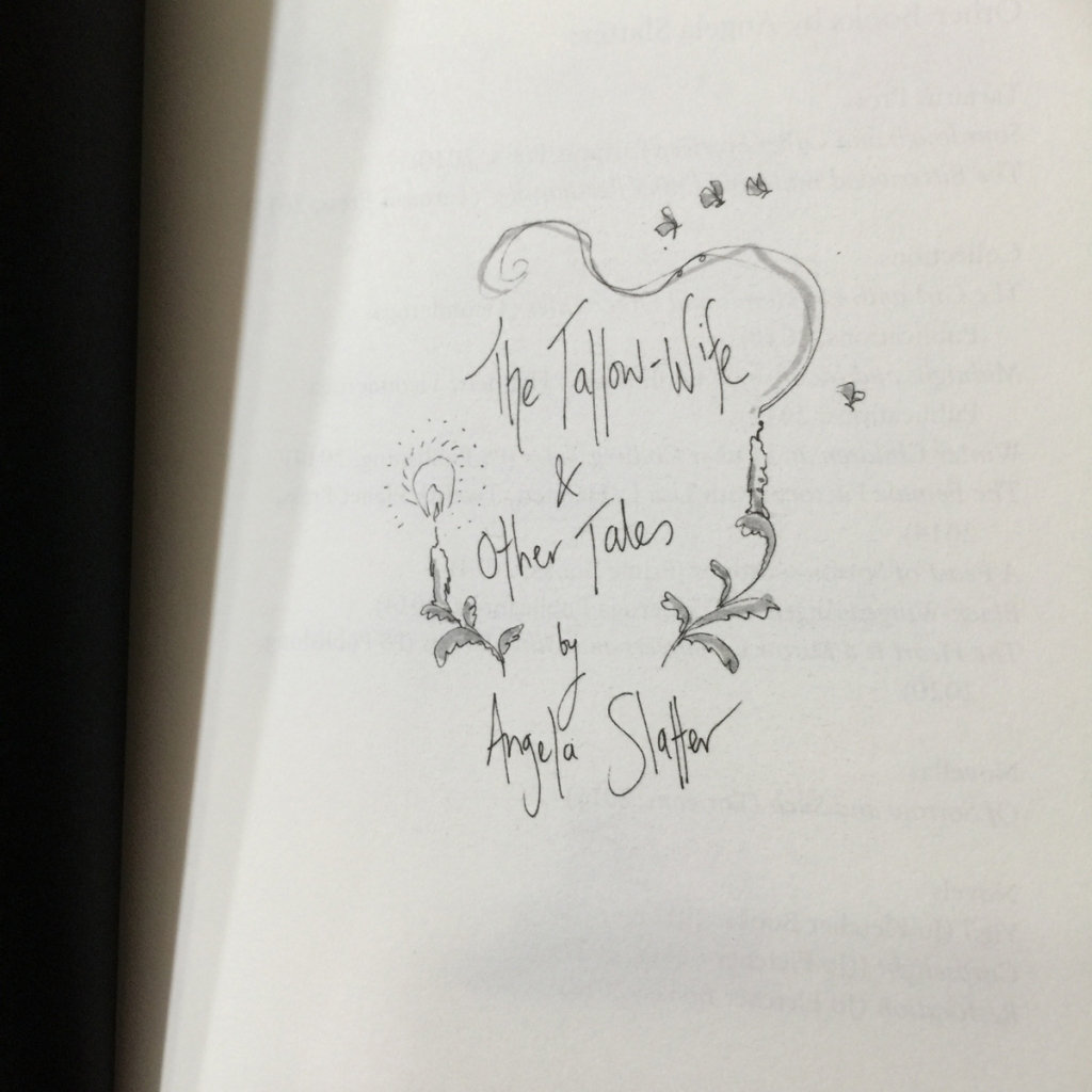 Title page of the book with sketches of candles, floral flourishes, and moths.