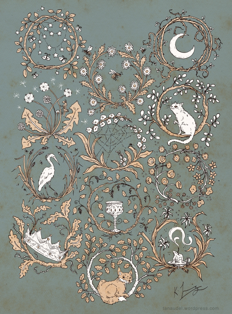 An ink drawing on a mottled blue background of 12 floral wreaths/rondels, colouredin pale beige and white, including stars & moths, grasshopper & dandelions, heron, crown, bees, spiderweb, goblet, fox, moon, cat, bouquets, and a snuffed candle.