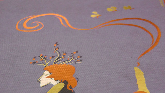 Close up of a head crowned with branches, a candle, and moths, printed on purple boards in gold and bronze foil