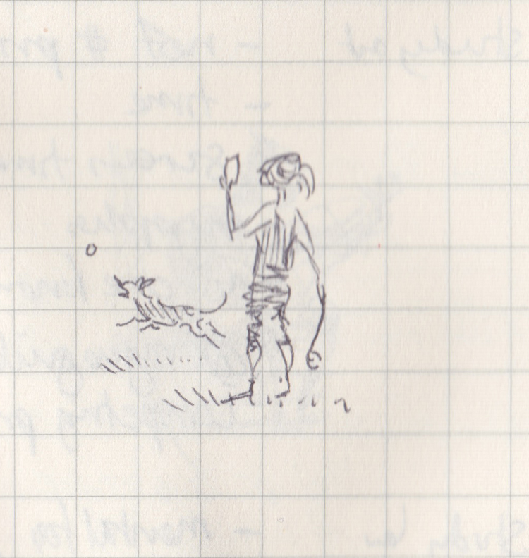 Tiny pen drawing of person in exercise wear, holding a phone and a ball-thrower, while a dog chases a ball.