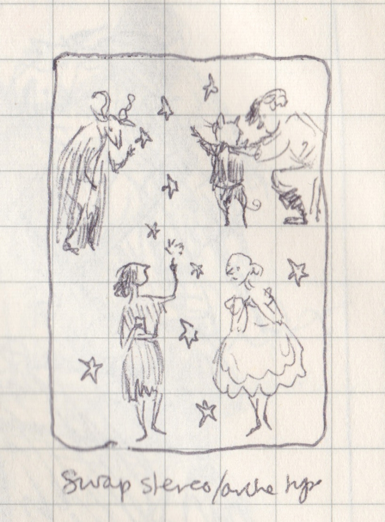 "Close-up of the ""swap stereotypes"" drawing. It includes what might be a cow in a cloak, a man dressing a cat, a girl in rags touching stars, and a girl in a party dress."