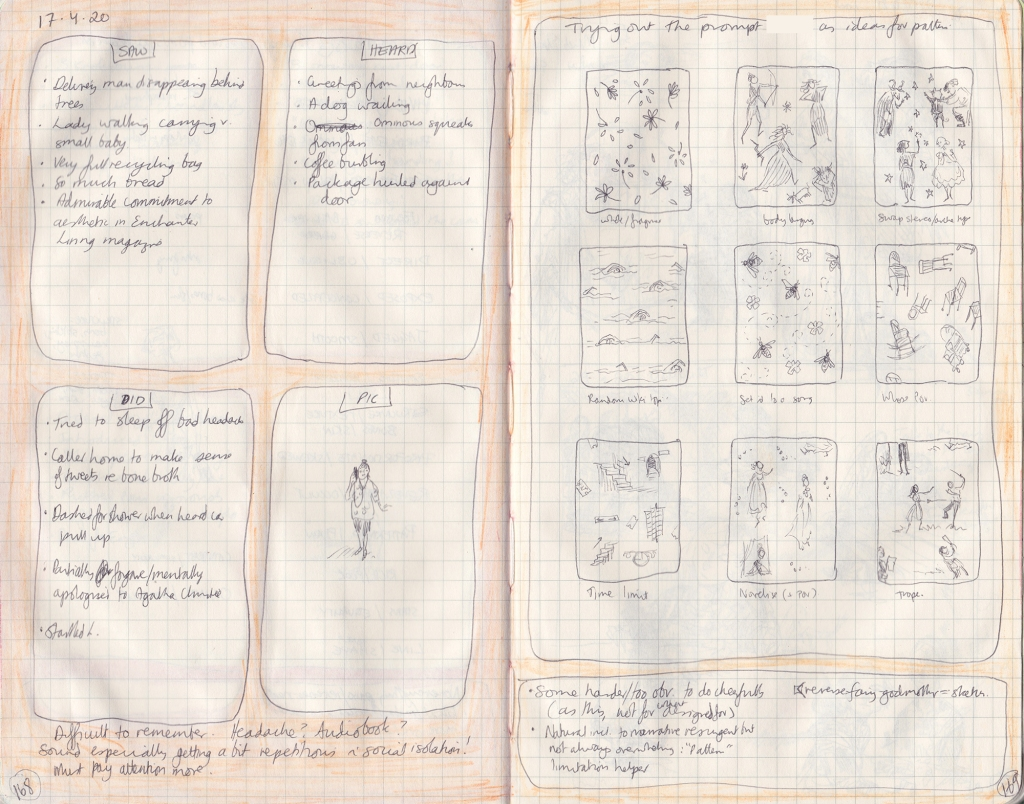 A double page from the observation journal. On the left, five things seen/heard/done and a drawing of me walking and talking on my phone. On the right, sketches of repeating patterns.