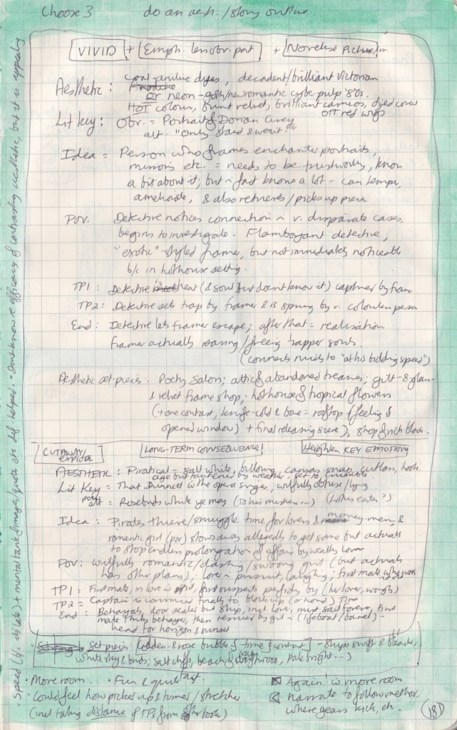 The right page of the observation journal, with handwritten thoughts on stories and aesthetics.