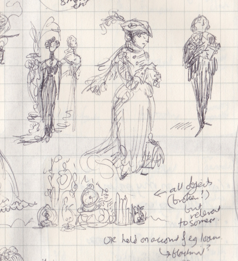 Tiny pen drawings of women in late Victorian evening gowns near a fern, a woman in a travelling outfit by a gladstone bag, an Oscar-Wilde-ish gentleman, and a collection of clocks and broken ornaments.