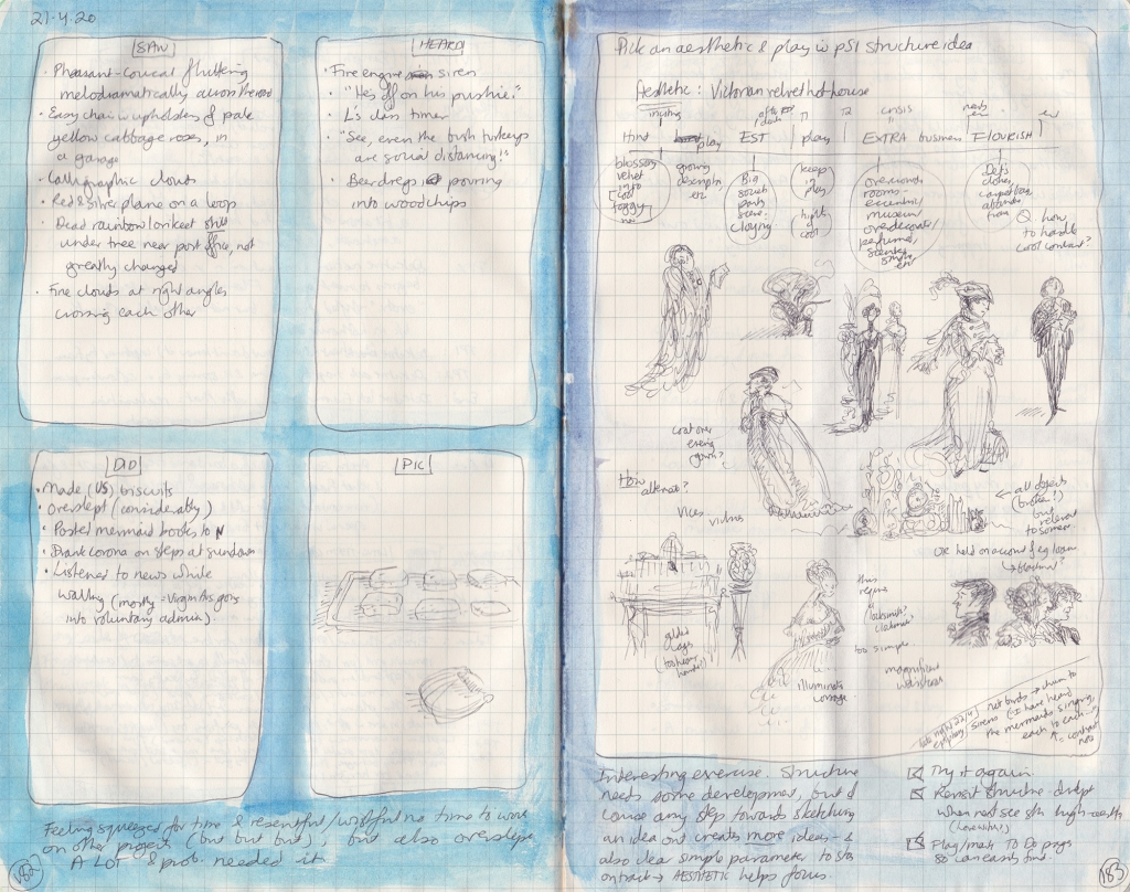 Double page spread of observation journal, handwritten. On the left, five things seen, heard, and done, and a picture (of biscuits). On the right, a chart of a story structure with drawn and handwritten notes of people in Victorian settings.