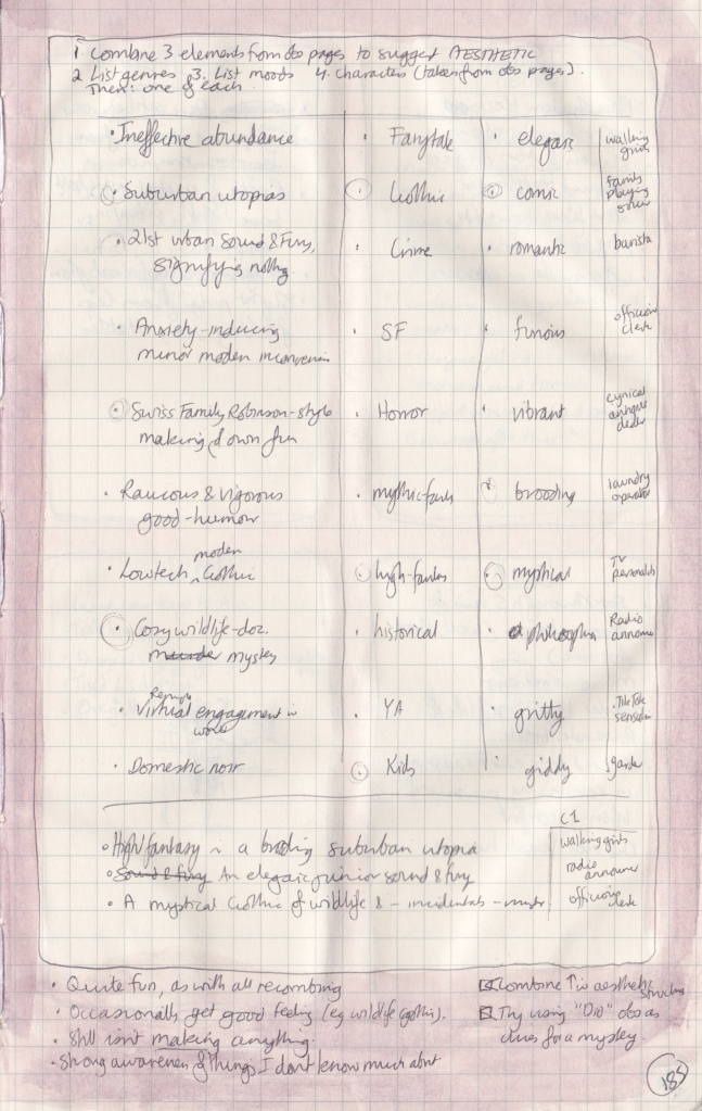 Right-hand page of observation journal with very small handwritten version of table described in this post.