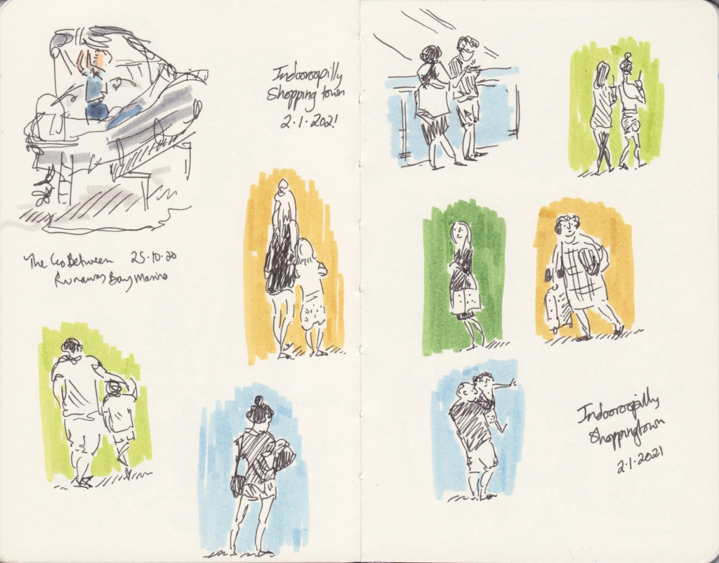 Sketchbook pages with a drawing of a boat and a number of people at a shopping centre.