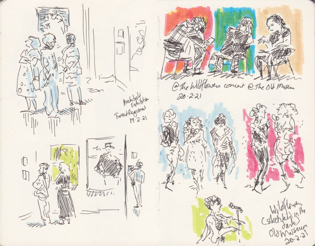 Sketchbook pages with people looking at art, the audience at a concert, and singers on stage
