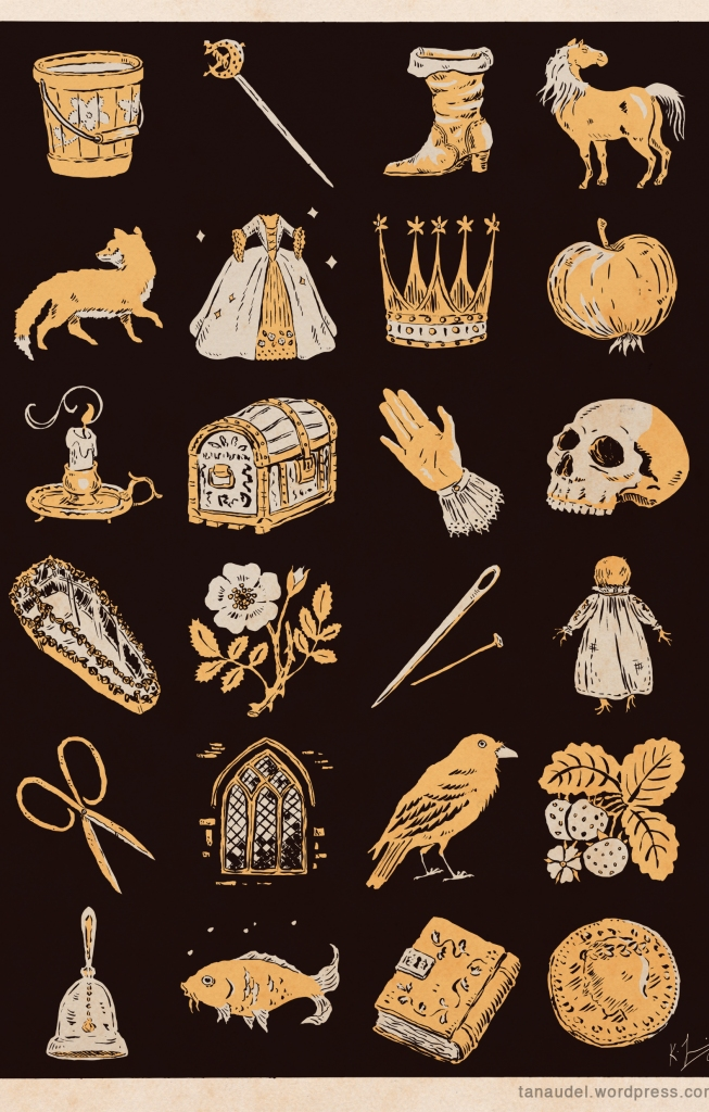 A black page with images in grey and yellow: bucket, sword, boot, horse, fox, dress, crown, apple, candle, chest, hand, skull, glass coffin, rose, needle and pin, poppet, shears, window, raven, strawberries, glass bell, fish, book, coin