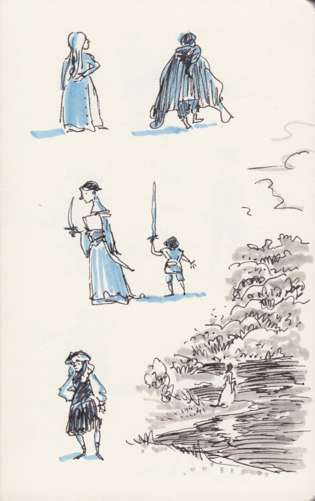 Sketches of people in medieval and hobbit costumes