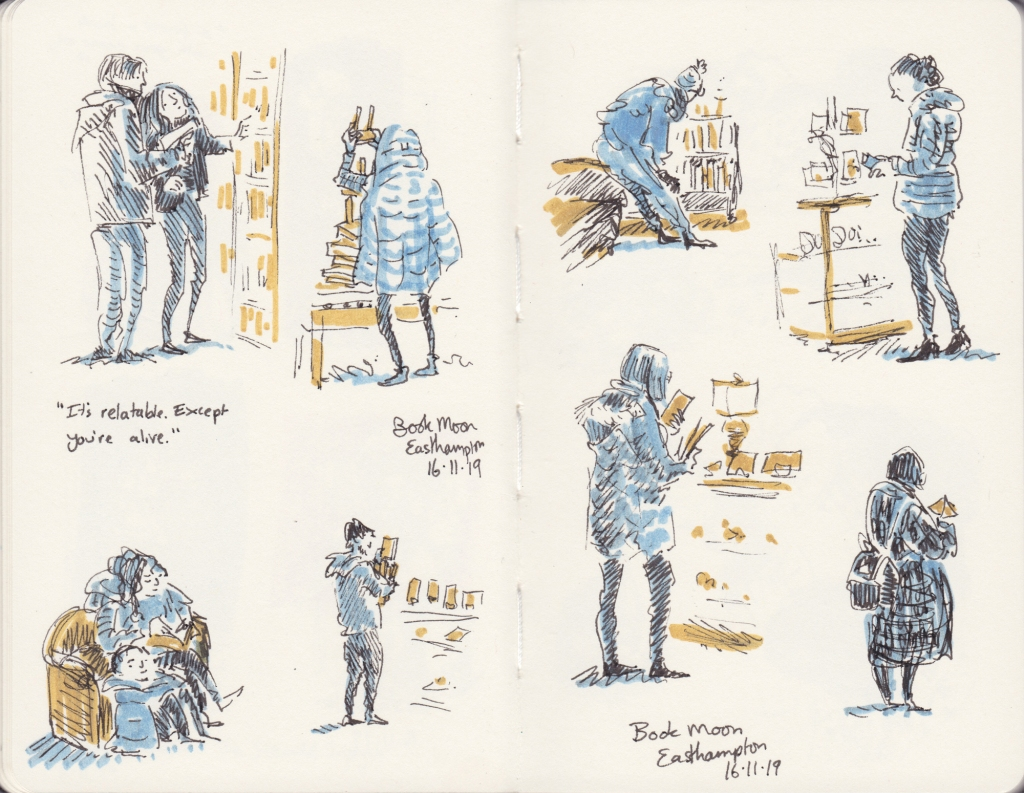Sketches of people browsing in Book Moon Books