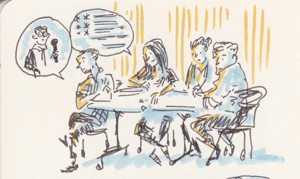 A sketch of four people at a table talking