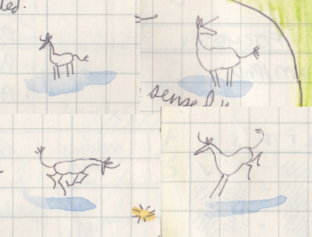 Four very tiny unicorn drawings, in ballpoint pen lines on gridded paper with a little bit of blue watercolour for the shadow.