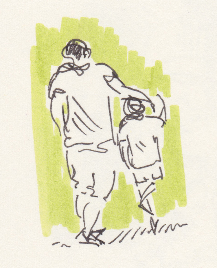 Sketch of father and son walking from the back. Green background.