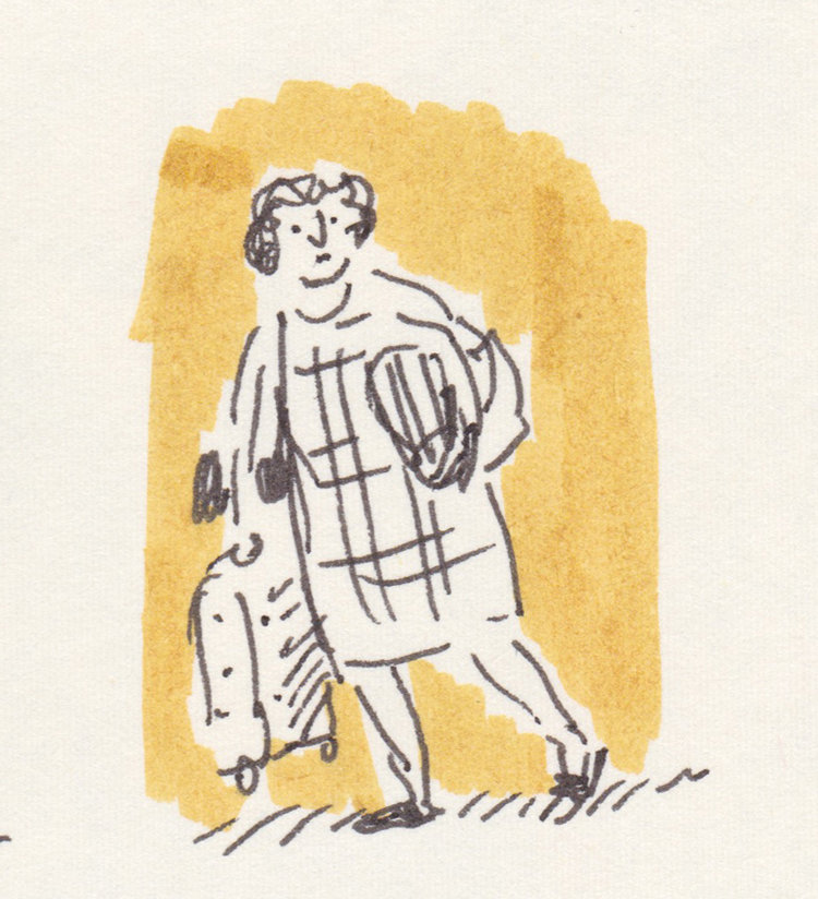 Sketch of woman carrying a small suitcase. Black pen with mustard-yellow background.