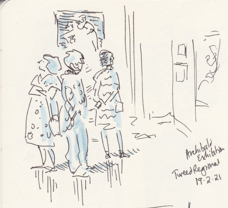 Black and blue sketch of people looking at art