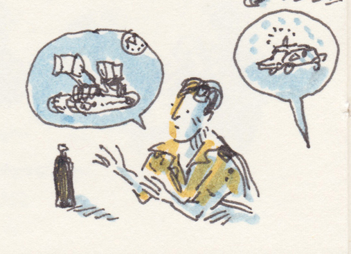 A sketch of an army officer talking about a bulldozer