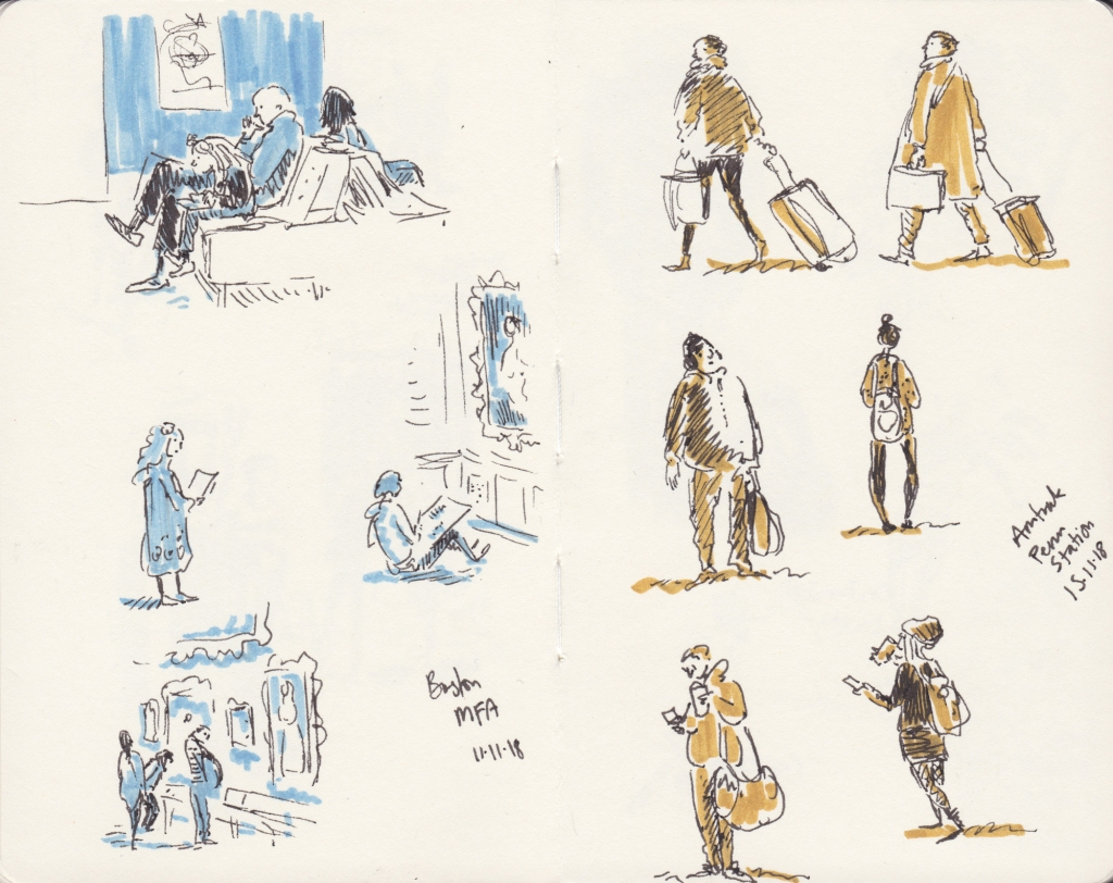 Sketches of people sketching in Boston MFA, and in transit at Penn Station