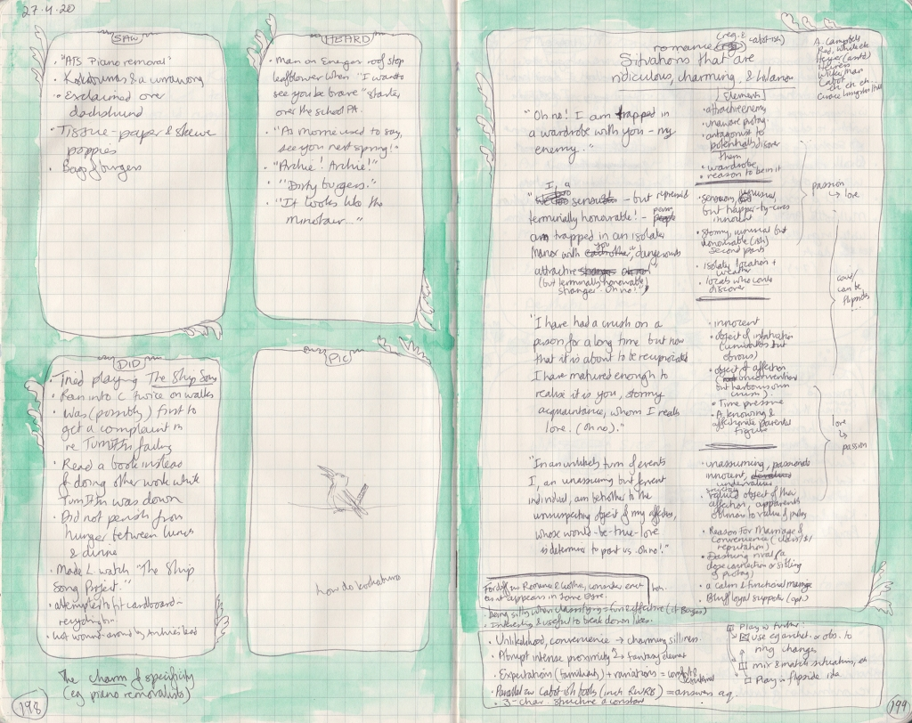 "Double page of densely handwritten observation journal. On left, five things seen, heard and done, and a bad pen drawing of a kookaburra with ""how do kookaburras"" written under it. On the right, a list of romance situations."