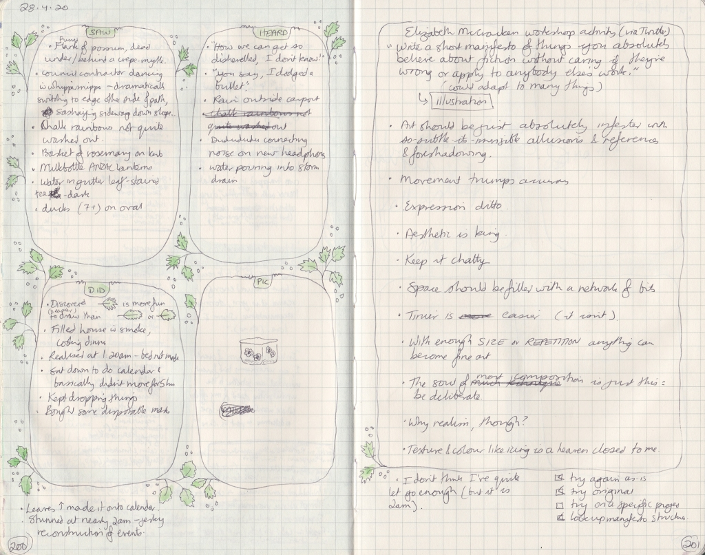 Double-page spread of observation journal. Left page contains lists of five things seen, read, and done, and a tiny pen drawing of a box with flowers on the sides. The right page is a manifesto described below.