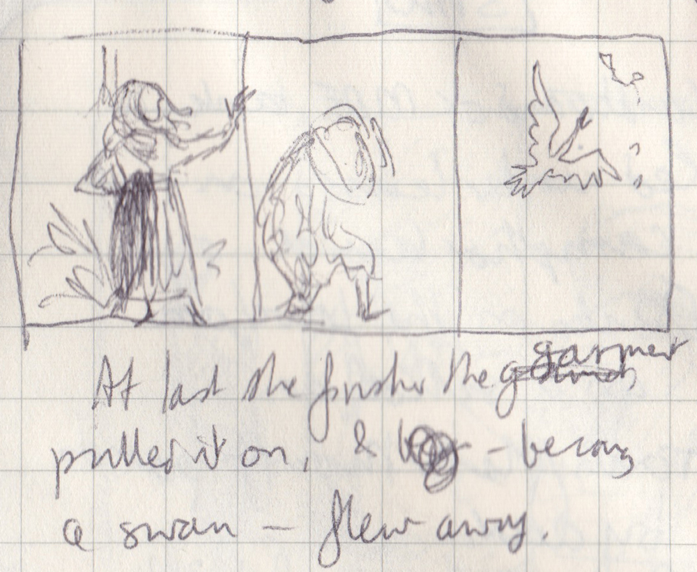 "Tiny pen scribbles of person putting on clothes and turning into berd with words ""At last she finished the garment, pulled it on, & — becoming a swan — flew away."""