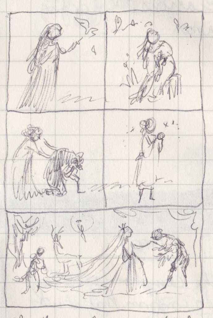 Tiny pen scribbles of people talking to birds, transforming, being married.
