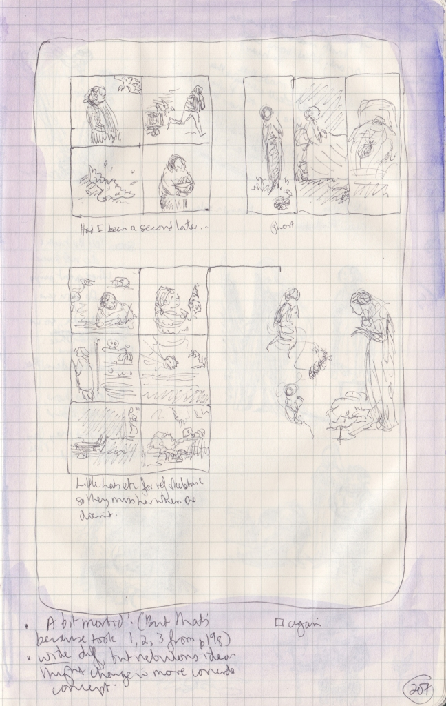 Page with groups of 4, 3, and 6 boxes, with little scribbled drawings in them.