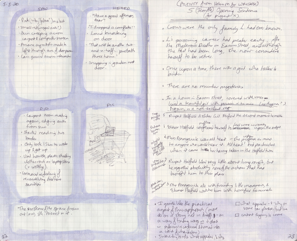 Two pages of observation journal, densely handwritten. On the left, five things seen, heard and done, and a picture (of a laptop balanced on a drying rack). On the right, the exercise described below.