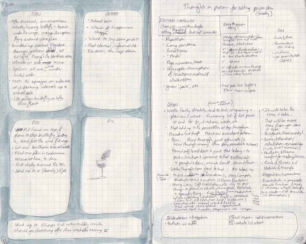 Two pages of observation journal, densely handwritten. On the left, five things seen, heard and done, and a picture (of a butterfly on a wine glass). On the right, the exercise described below.