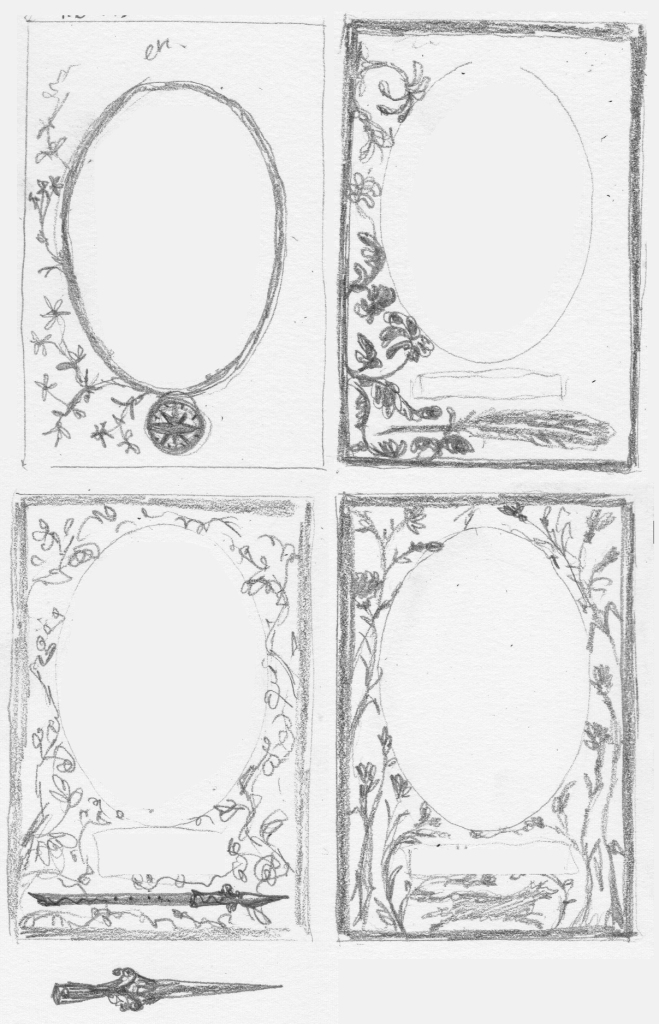 Four tiny pencil sketches of framing arrangements, very scribbly