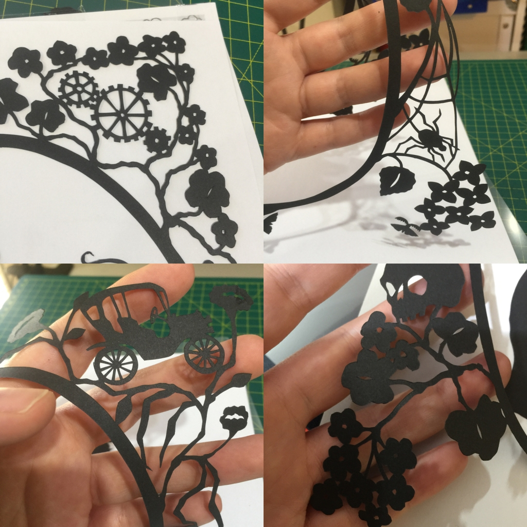 4 photos of a hand holding silhouette elements: spider and web, cogs among geraniums, old-fashioned car, skull