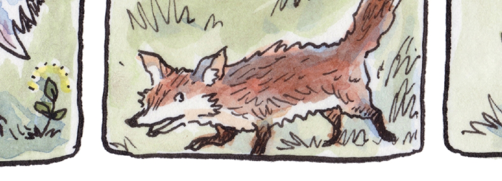 Tiny ink and watercolour drawing of a sneaky/gleeful fox