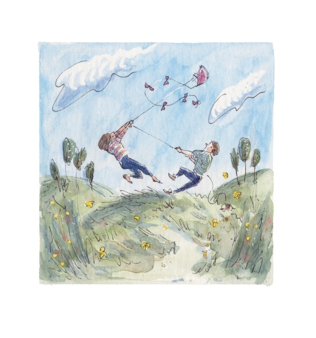 Tiny pen and watercolour painting of a young man and woman flying a kite on a hilltop in a strong wind, and being lifted off the ground.