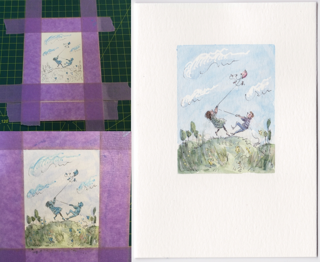 Paper stuck to a drawing board with purple masking tape, a picture partly painted with masking fluid still showing, and a narrower tiny pen and watercolour painting of a young man and woman flying a kite on a hilltop in a strong wind, and being lifted off the ground.