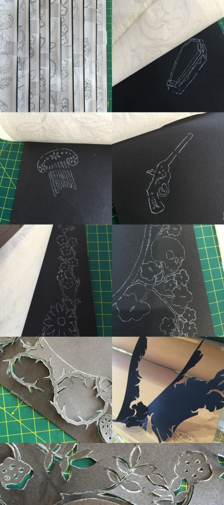 9 photos of stages of positioning, tracing, and cutting silhouette elements