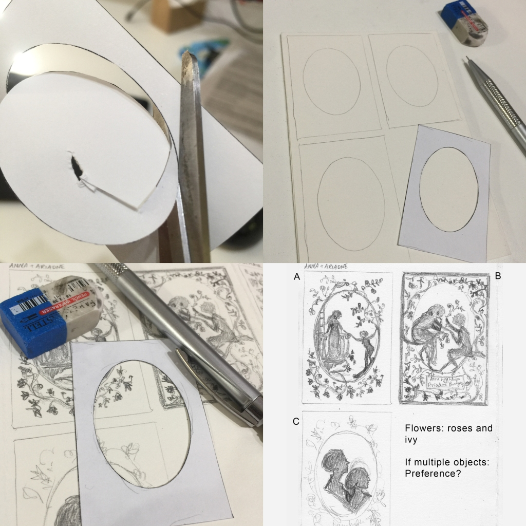 4 photos, cutting, tracing and drawing in an oval template