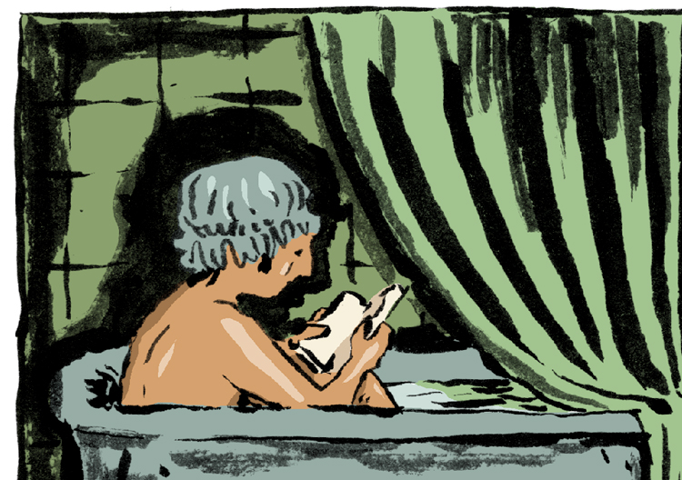 Brush drawing with digital colour of a person with a showercap reading in a blue bath in a green bathroom