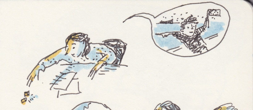 Tiny black-line drawing with dashes of blue and yellow marker. Person rolling dice. In a speech bubble, a person waving a flag points to the sea.