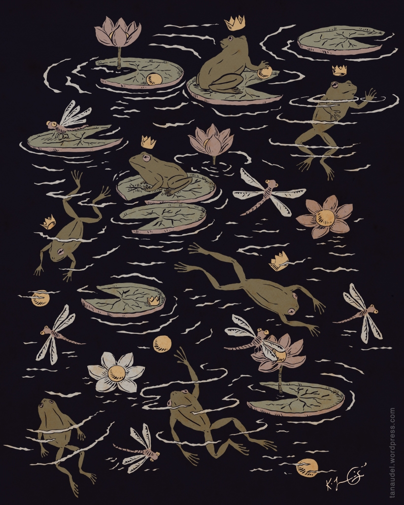 A pattern of dragonflies, waterlilies, golden balls, and crowned frogs on a dark background, in shades of mauve and olive/sage