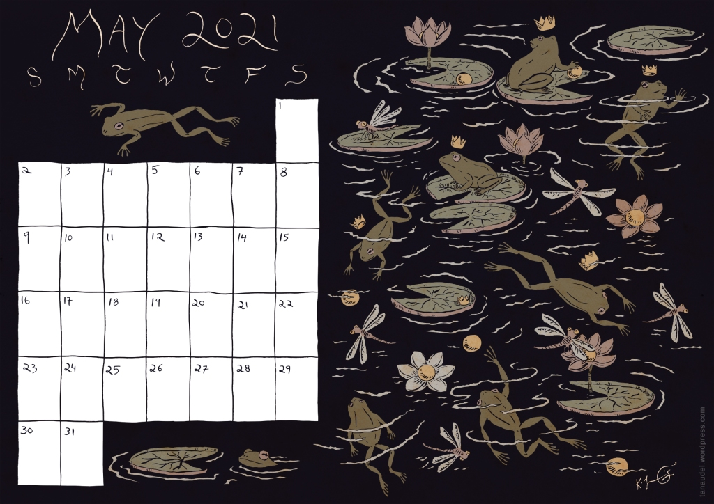 Calendar for May 2021, with the design of frogs and waterlilies