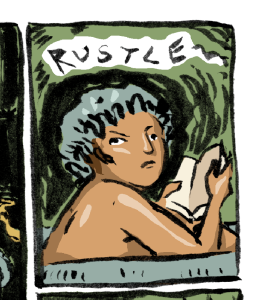 """Brush drawing with digital colour of a person with a showercap reading in a blue bath looking up, startled, and hearing the word """"RUSTLE"""""""