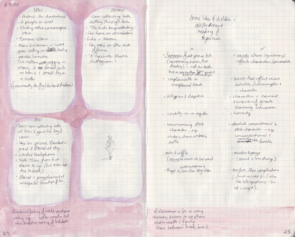 Two-page spread from observation journal. Five things seen, heard and done, with a picture of someone walking; A list of likes and dislikes.