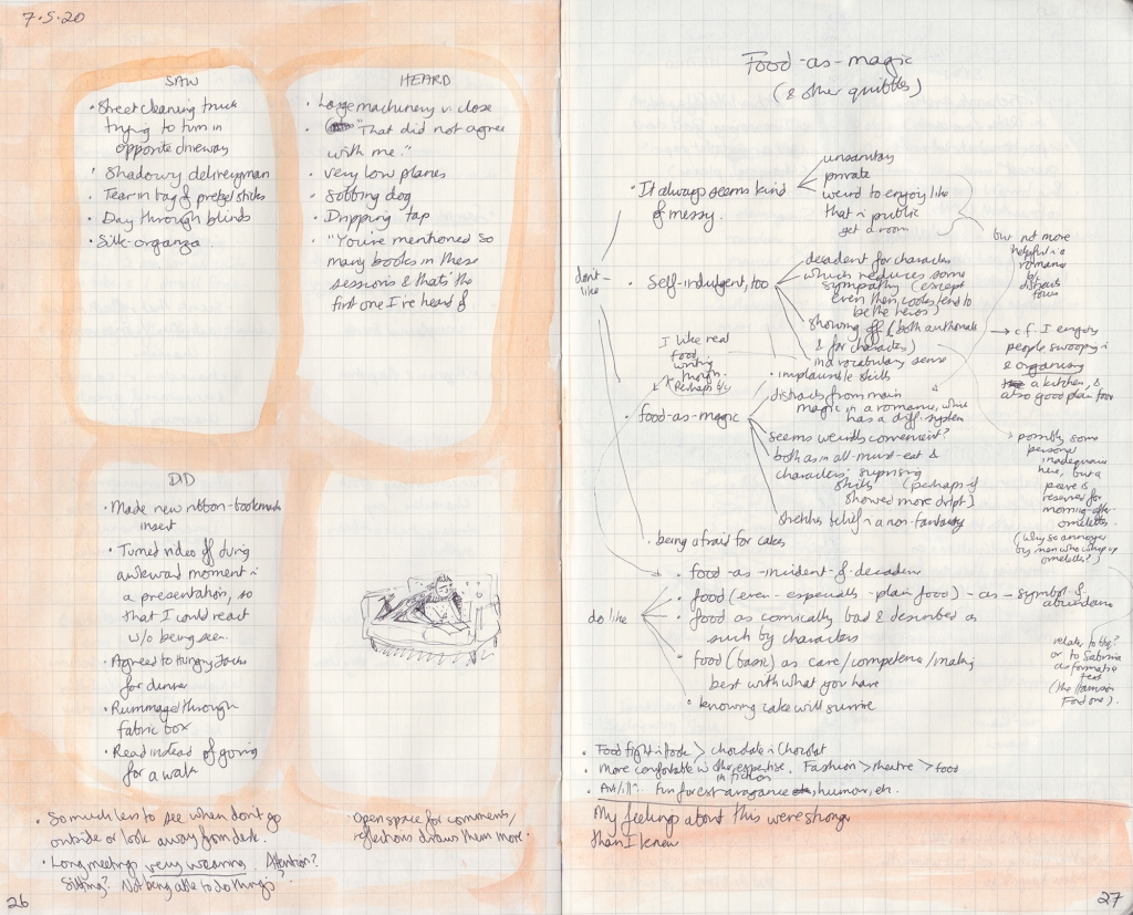Two pages of observation journal, densely hand-written. On the left, five things seen, heard, and done, and a picture of me reading on the couch. On the right, a chart of thoughts about food.
