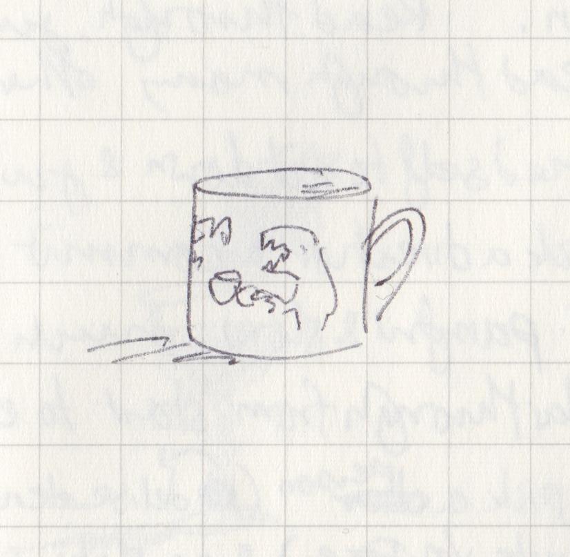Tiny biro drawing of a mug with a dinosaur on it