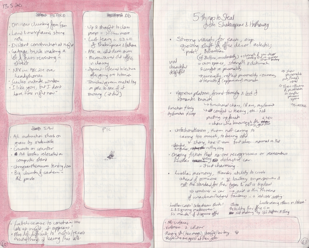 "Double page spread of observation journal. On the right, five things seen, heard, and done, and a picture of a fly. On the right, a densely handwritten list of ""5 things to Steal from Shakespeare & Hathaway"""