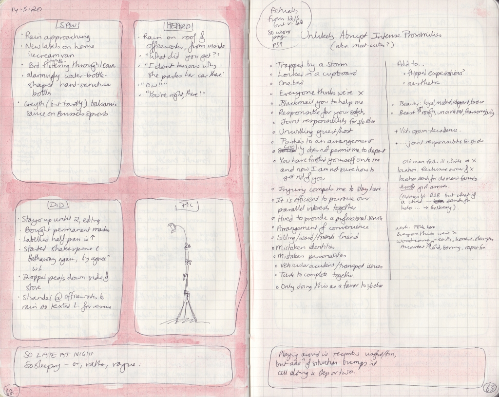 Two-page spread from observation journal. Five things seen, heard and done, and a photo of a camera tripod setup, and a list of unlikely abrupt intense proximities