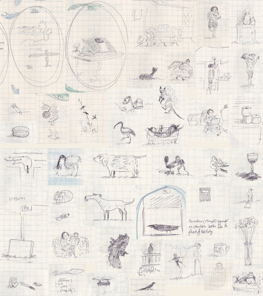 Lots of tiny biro drawings, some described further in the text