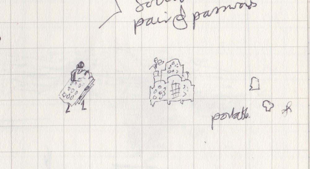 Tiny, tiny pen sketch of a person carrying a fretted folding folly (folding screen).