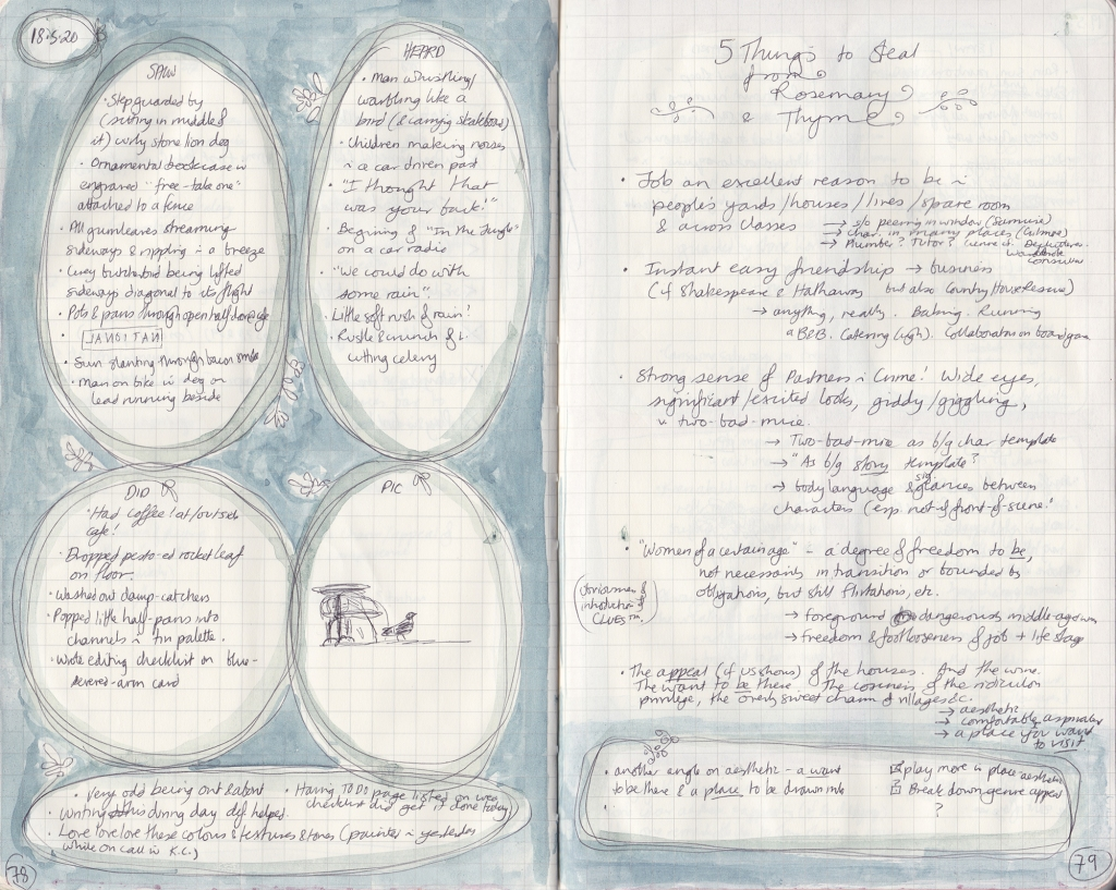 "Double page spread of observation journal. On the right, five things seen, heard, and done, and a picture of a pigeon near a cafe table. On the right, a densely handwritten list of ""5 things to Steal from Rosemary & Thyme"""