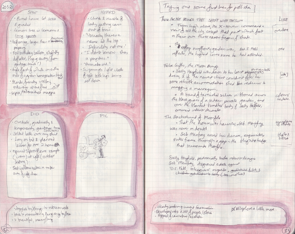 Two pages of densely handwritten observation journal. On the left, five things seen, heard and done, and a drawing of a person putting bags into the back of a car. On the right, playing with first lines.